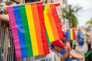 flags at a Pride Parade
